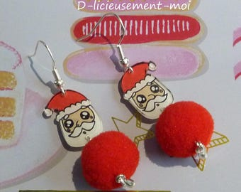 Earrings in sterling silver 925 dad Father Christmas kawaii crazy crazy plastic painted by hand and Red Winter Pompom