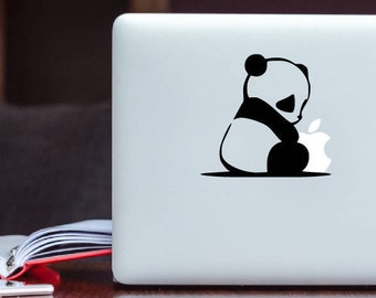 Cute Panda holding Apple Decal MacBook Decal / Laptop Decal / iPad Decal vinyl sticker