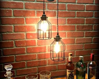 Sale! Ornate Black Pulley Light with Wire Cages - Industrial Chic - Farmhouse - Steampunk