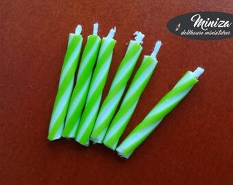 Miniature green candles, 1:12 scale