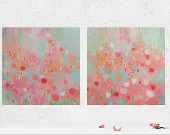 Abstract Nursery Set Two Abstract Paintings Pink Coral and Mint Nursery Art Pink Coral and Mint Original Abstract Paintings for Girls Room