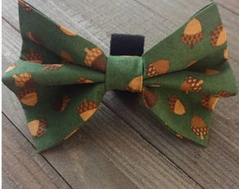 Fall Acorn Bow Tie, Green/Gold/Brown Dog/Cat Bow Tie, Fall Colors Dog/Cat Bow Tie, Pet Dog/Cat Bow Tie, Pet Accessory