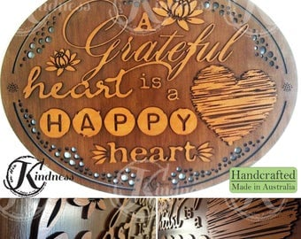 Wooden Wall Art, A Grateful Heart is  Happy Heart, Inspirational Quote, inspirational gift, home sign decor