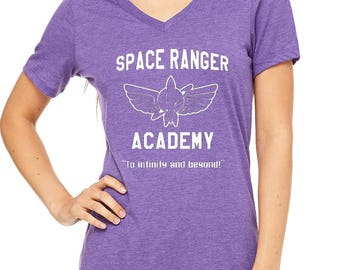 Ladies Relaxed V-Neck Disneyland space ranger academy  buzz lightyear shirt toy story shirt Ladies Shirt Disneyland Shirt Disney World Shirt