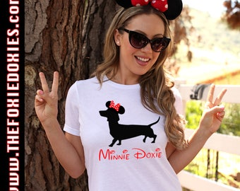 MINNIE DOXIE Tri-Blend T Shirt, Disney Inspired, Doxie, Doxies, Weiner Dog, Minnie Mouse, Wiener Dog, Mickey, Sausage Dog, Mini Dachshund