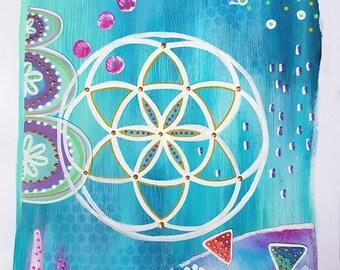 Seed of life painting - Abstract art -  Mixed media painting - Bohemian style - Spiritual art - Yoga wall art - Geometric art