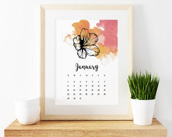 2018 Desktop Printable Calendar 5x7 inches, Watercolor flowers, New year Calendar, Frame calendar, Decorative Calendar, Wall calendar, art