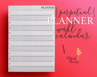 Wall Calendar Editable Printable - Black and White - A1 - Giant, Large Perpetual Year Planner