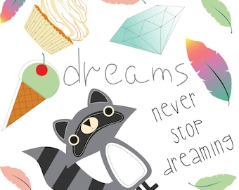 DREAMS CLIPART Png Digital Download Raccoon Ice Cream Coffee Feather Instant Clip Art Summer Clipart Dessert Download Instant Download
