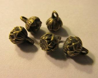 Mini Bronze Lotus Blossom Charms, 9mm, Set of 5