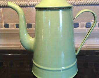 Vintage coffee Kettle green enamel granite ware Goldfish brand China