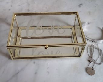 Etched Glass Jewelry Box with Mirrored Bottom/Gold Trim