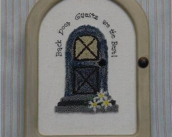 Back Door Guest, Punch Needle design, Instant Download by Susan Davis, Aunt Susie's House