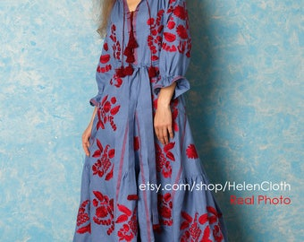Vyshyvanka Blue Linen Embroidered Dress, Ukraine, Mexican Dress, Bohemian style BohoChic Linen Kaftan Abaya Long maxi dress Free shipping