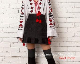 Ukrainian Vyshyvanka Embroidered Boho Skirt Blouse Custom Bohemian Style White Linen Clothes National Clothing Ethnic Black Embroidery rty