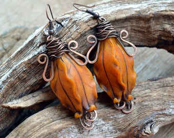 Orange earrings Dangle earrings Floral earrings Statement earrings Copper earrings Polymer clay jewelry Fashion earrings Gift for her