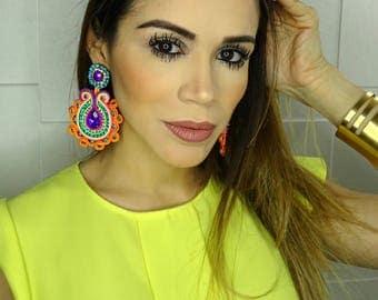 Hippie Earrings, Wholesale Earrings, Neon Earrings, Earrings Soutache, Soutache Earrings,Summer Jewelry,Multicolor Earring,Colorful Earrings