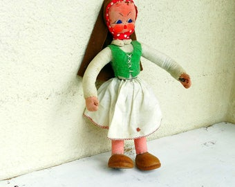 Limited edition textile girl doll traditional Portuguese folk art doll textile doll rag ragdoll handmade in Portugal vintage 70s 80s