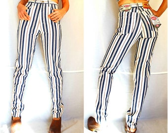 High waist mom jeans size Medium W26 striped pants retro high waisted pants trousers vintage 90s dead stock NEW