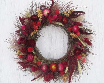 red shades dried flower and twig wreath/red rustic dried flower and twig wreath/red dried flower wreath/rustic wreath/dried flower wreath