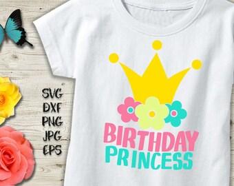 birthday princess svg, birthday princess crown svg, birthday princess iron on, flowers svg, birthday girl svg, Svg Birthday, Princess files