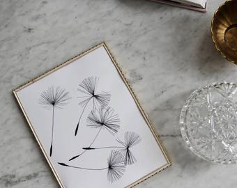 Dandelions ART PRINT | Minimalist Wildflowers Scandinavian art | Black and white modern blooms | Minimal artwork dandelion wall art