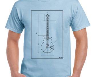 Guitar Blueprints Mens Funny Guitarist T-Shirt Electric Bass Acoustic Amp Rock 2190