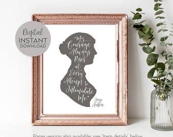 Large bookish poster / Jane Austen art / Pride and Prejudice famous quotes / Teen feminist / Jane Austen wall art / DIGITAL FILE DOWNLOAD