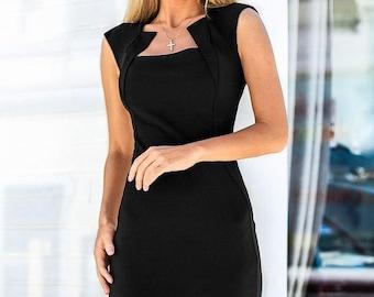 Elegant Jersey dress casual wear Midi dress short sleeve Office dress black Casual women's dress Dress-case Little black dress Day dress