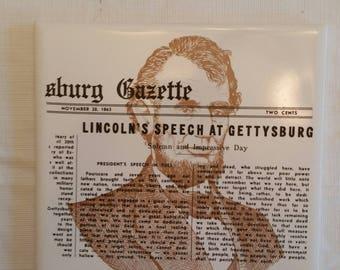 vintage president abe lincoln 's gettyburg speech ceramic tile trivet / hot pad  souvenir pittsburg gazette replica 1863 civil war militaria