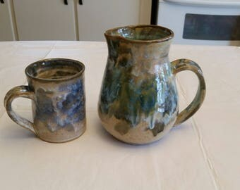 vintage ceramic stoneware pitcher & mug / cup signed art by john beekman - pottery glazed drip pattern set - drinkware kitchen blue green