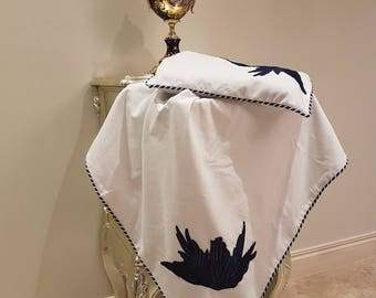 White Velvet Baby Wrap and Pillowcase Set with Navy Motif and Trim