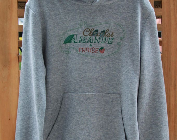 Sweatshirt grey hooded girl with delicious illustration, chocolate, almond and strawberry