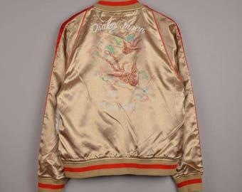 vintage avirex sukajan japan souvenir jacket, vintage souvenir jacket,vintage sukajan jacket,osaka japan jacket,varsity jacket,bomber jacket