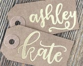 Set of 6 Gift Tags - Custom Gift Tags - Name Gift Tags - Handlettered Gift - Birthday Tag - Party Favor - Bridal Shower - Wedding Tag - Gold