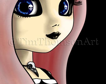 """ACEO Print of my digital painting """"Raven Doll"""", a highly collectible, limited edition Art Trading Card"""