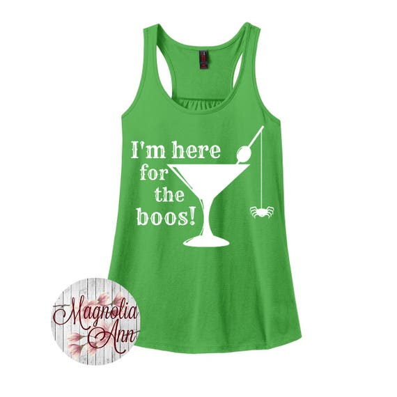 I'm here for the Boos, Alcohol, Halloween, Women's Racerback Tank Top in 9 Colors in Sizes Small-4X, Plus Size, Plus Size Clothing