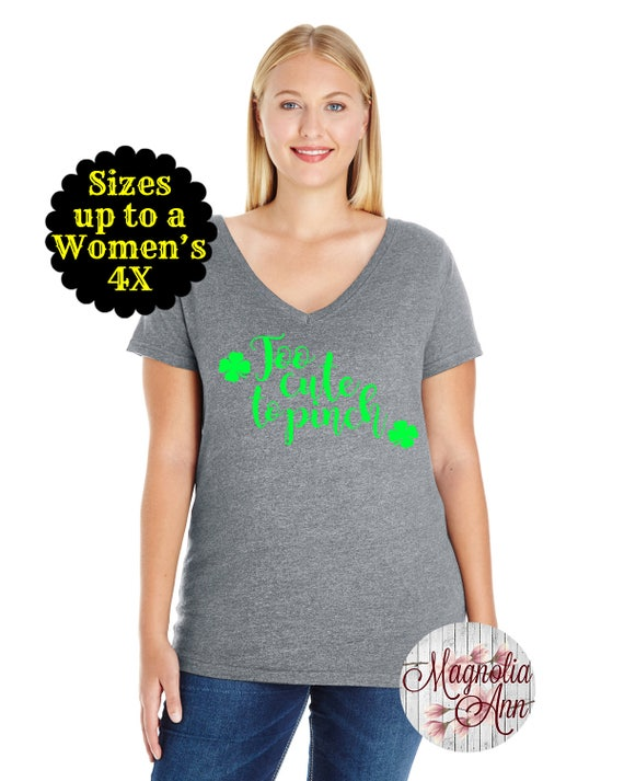 Too Cute To Pinch St Patricks Day Women's Jersey V-Neck T-shirt, Plus Size Clothing, Plus Size St Patricks Day, Womens St. Patricks Day Tee