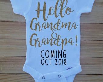 Pregnancy Announcement Onesie®  for Grandparents, Hello Grandma & Grandpa Onesie, Grandparent Pregnancy Reveal, Family Pregnancy Reveal