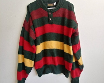 Vintage Cheery Striped Wool Sweater