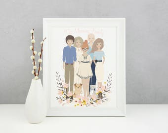 Family personalised illustrated portrait, custom portrait, personalised family print, family print, family gift, personalised art, custom