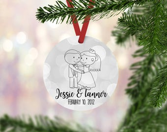 Anniversary Christmas Tree Ornament - Couples Gift - Bride and Groom - Wedding Gift - First Christmas as Mr and Mrs