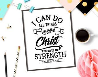 I can do all things through Christ who gives me strength svg cutting file Bible verse svg design Christian SVG Cricut file Philippians 4:13