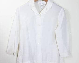 JONES NEW YORK Women's Silk Top - Size 6 - Off White Button Down Shirt