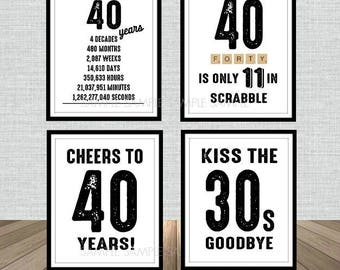 40th Birthday Poster Sign Bundle Pack, Back in 1978, Printable, Cheers to 40 Years, 40 in scrabble, Kiss the 30's Goodbye