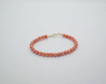 Pink Coral Bracelet, Gemstone Bracelet, Dainty Bracelet, coral bracelet gold