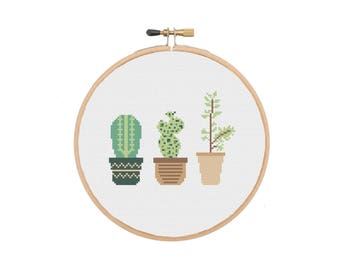 Mini Cactus Cross Stitch Pattern Flower Cross Stitch Sampler Modern Cross Stitch Beginners Cross Stitch Easy Embroidery Instant Download PDF