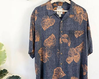 80s charcoal gray silk blend Hawaiian button up shirt with rust colored leaf pattern, size large