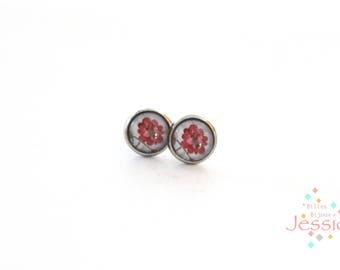 Hypoallergic, Stud earrings, Cabochon earrings, Kids earrings, Roses earrings, Flower earrings, Vintage earrings, Vintage flower