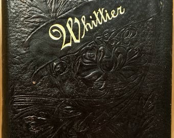 Antique leather book: John Greenleaf Whittier's Poetical Works, 1893. Full padded tooled binding, poems poetry Victorian Fireside Quaker